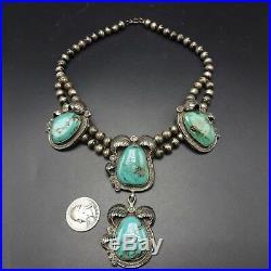 ELEGANT Vintage NAVAJO Sterling Silver LARGE TURQUOISE Cabochons NECKLACE