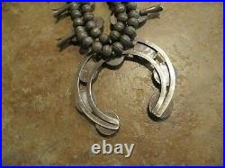 EXTRA FINE Vintage Navajo Sterling Silver Turquoise SQUASH BLOSSOM Necklace