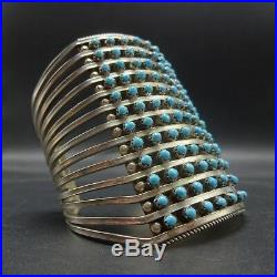 EXTRA WIDE Vintage ZUNI Sterling Silver TURQUOISE Snake Eye Cuff BRACELET 73g