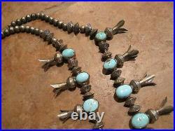 EXUBERANT Vintage Navajo Sterling Turquoise Sandcast SQUASH BLOSSOM Necklace