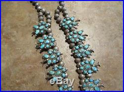 EXUBERANT Vintage Zuni Sterling Petit Point Turquoise SQUASH BLOSSOM Necklace