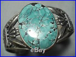 Early Vintage Navajo Green Spiderweb Turquoise Sterling Silver Bracelet Old