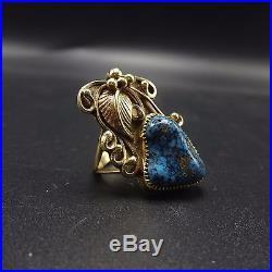 Elegant Vintage NAVAJO 14 Karat GOLD & Blue Morenci TURQUOISE RING, size 5 3/4