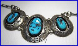 Estate Vintage Navajo Teddy Goodluck Sterling Turquoise Shadowbox Necklace C1619