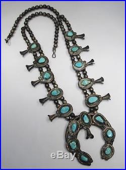 Estate Vtg Navajo Dry Creek Turquoise. 925 Silver Squash Blossom Necklace C1610
