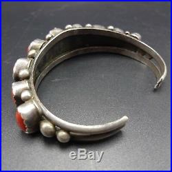 Exquisite Signed Vintage NAVAJO Sterling Silver OLD RED CORAL Cuff BRACELET