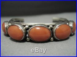 Exquisite Vintage Navajo Domed Coral Sterling Silver Native American Bracelet