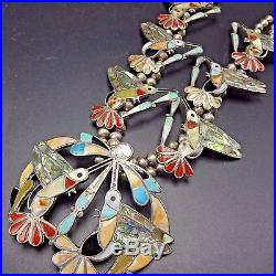 Exquisite Vintage ZUNI Sterling Silver MULTI STONE Inlay HUMMINGBIRD NECKLACE