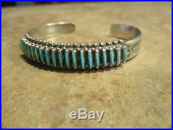 Exquisite Vintage ZUNI Sterling Silver NEEDLE POINT Turquoise Row Bracelet
