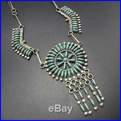 Exquisite Vintage ZUNI Sterling Silver and Fine TURQUOISE Needlepoint NECKLACE