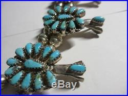 Exquisite Vintage Zuni 33sterling&turquoise Squash Blossom Necklace-masterpiece