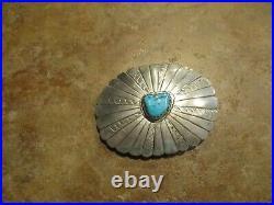 FINE Vintage Navajo Sterling Silver Turquoise Concho Belt Buckle
