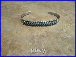 FINE Vintage Zuni Sterling Silver PETIT POINT Turquoise Row Bracelet