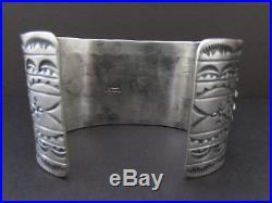 Fabulous Vtg DANNY CLARK Navajo Sterling Water Web Kingman Turquoise Bracelet