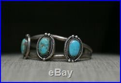 Fantastic Vintage Native American Navajo Turquoise Sterling Silver Cuff Bracelet