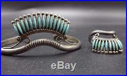 Fine Vintage ZUNI Sterling Silver & TURQUOISE Needlepoint Cuff BRACELET & RING