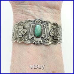 Fred Harvey Era Vintage Navajo Thunderbird Turquoise Cuff Bracelet Signed Ster