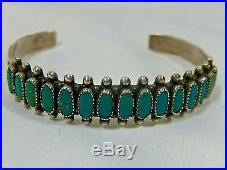 Fred Harvey Era Vtg Zuni Sterling Silver Oval Turquoise Row Cuff Bracelet Evc