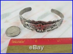 Fred Harvey sterling silver vintage 1950s Thunderbird cuff bracelet