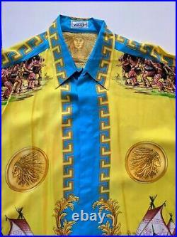 GIANNI VERSACE Native Americans 1993 Vintage Silk Shirt Amazing! Men's XXL