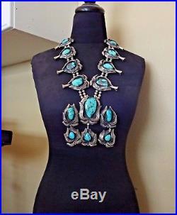 GIGANTIC Vintage NAVAJO Sterling Silver & Turquoise SQUASH BLOSSOM Necklace 424g