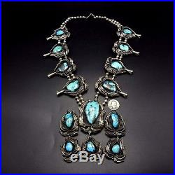 GIGANTIC Vintage NAVAJO Sterling Silver & Turquoise SQUASH BLOSSOM Necklace 424g