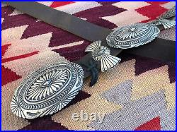 Good! Vintage Stamped Sterling Silver Navajo Southwest Concho Belt By D Reeves
