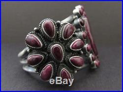 Gorgeous Vintage NAVAJO Sterling Purple Spiny Oyster Cluster Cuff Bracelet