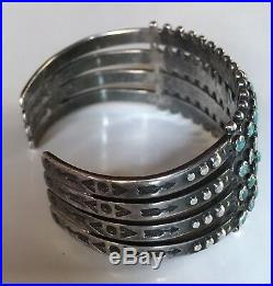 Great Vintage Zuni Indian Silver Four Row Snake Eye Turquoise Cuff Bracelet