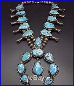 HUGE 456g Vintage NAVAJO Sterling Silver & Turquoise SQUASH BLOSSOM Necklace