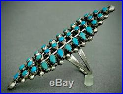HUGE LONG Vintage Zuni Native American Sterling Silver Turquoise Cluster Ring