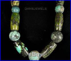 HUGE MASSIVE Vintage Navajo Spiderweb Green Turquoise Beads Sterling Necklace