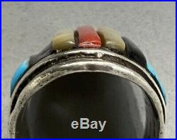 HUGE OLD Vintage Navajo Sterling Silver Turquoise Multi Stone Inlay Saddle Ring