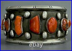 HUGE OLD Vintage Santa Domingo Sterling Silver Natural Coral Cuff Bracelet WOW