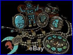 HUGE Old Pawn Vintage Navajo Blue Spiderweb TURQUOISE Sterling CUFF Bracelet