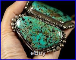 HUGE! Old Pawn Vintage Navajo Natural TURQUOISE Sterling Silver CUFF Bracelet