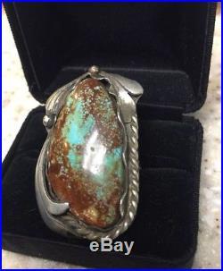 HUGE Old Vintage Kings Manassa Turquoise Navajo Sterling Silver Ring Sz 9.5