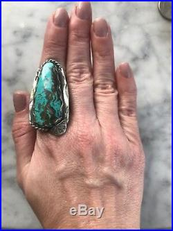 HUGE Sterling Silver Vtg Navajo Blue Brown Matrix Turquoise RingUnisexSz 9.25
