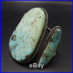 HUGE Vintage NAVAJO Sterling Silver & Dry Creek TURQUOISE Cuff BRACELET 110g