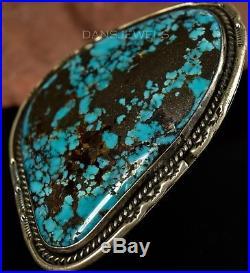HUGE Vintage Navajo Old Pawn Morenci 2 1/2 TURQUOISE Sterling Silver Ring SZ 8