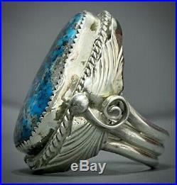HUGE Vintage Navajo Sterling Silver Blue Gem Turquoise Ring HEAVY GORGEOUS
