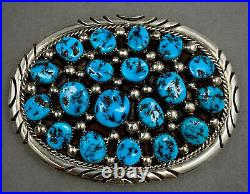 HUGE Vintage Navajo Sterling Silver Kingman Turquoise Cluster Belt Buckle 91grms