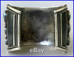HUGE Vintage Navajo Sterling Silver Turquoise Cluster Cuff Bracelet 139Grams WOW