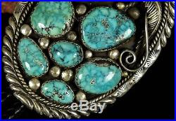 HUGE Vintage Navajo Stover Paul Carico Lake TURQUOISE Sterling BOLO TIE