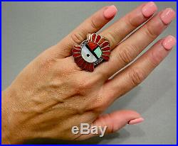 HUGE Vintage ZUNI Native American Sterling Silver Coral & Turquoise Inlay Ring