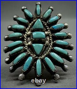 HUGE Vintage ZUNI Native American Sterling Silver Turquoise Cluster Ring