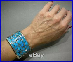 HUGE Vintage ZUNI Native American Sterling Silver Turquoise Inlay Cuff Bracelet