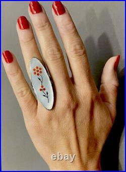 HUGE Vintage Zuni Sterling Silver Coral Inlay Ring 12 Grams STUNNING RING