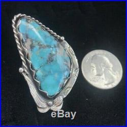 HUGE Vtg Sterling Navajo Gorgeous Blue Turquoise Black Matrix Ring Sz 10.75 16g