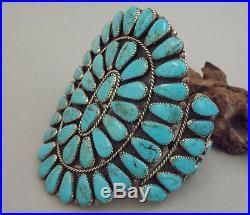 HUGE Zuni Old Vintage Turquoise Cluster Cuff Bracelet attr ONDELACY 95.7 grams